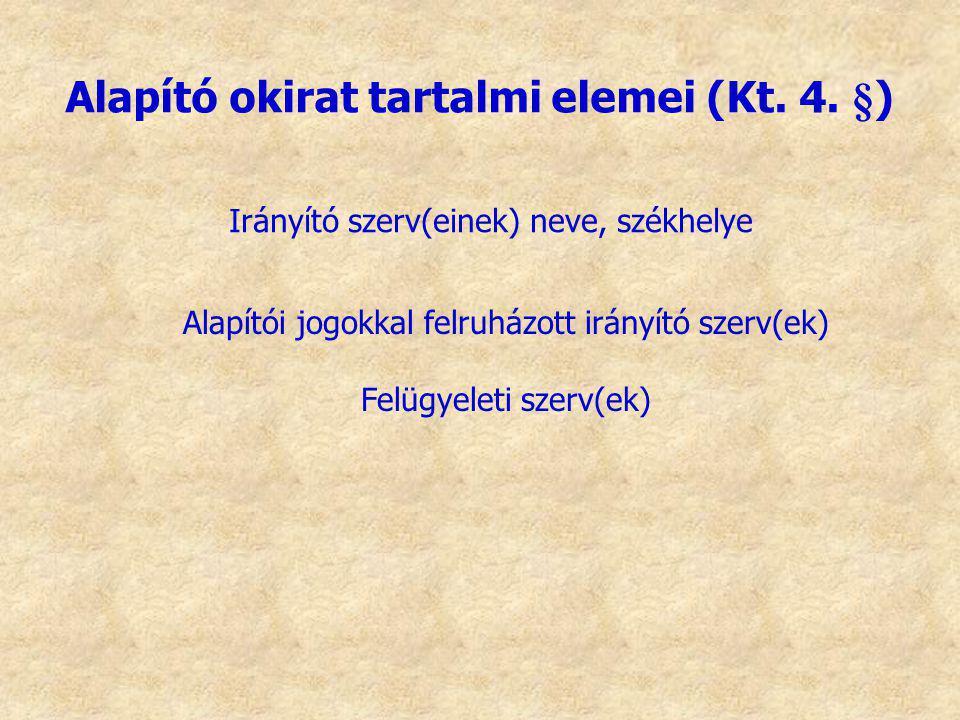 Irányító szerv(einek) neve, székhelye Alapító okirat tartalmi elemei (Kt. 4. §) Alapítói jogokkal felruházott irányító szerv(ek) Felügyeleti szerv(ek)