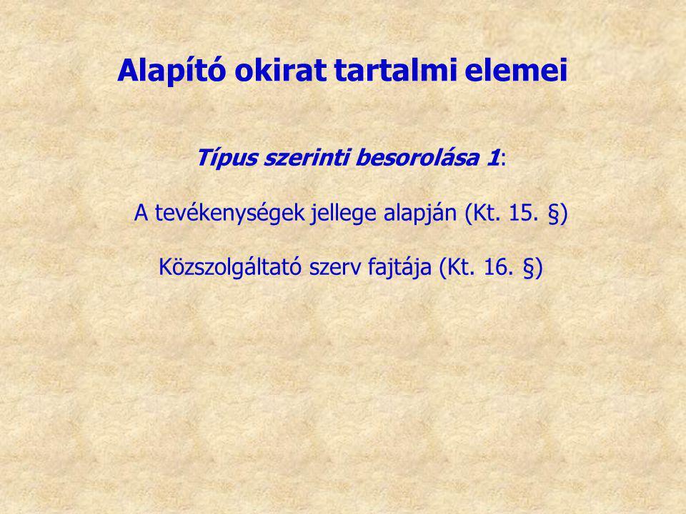 Típus szerinti besorolása 1: A tevékenységek jellege alapján (Kt. 15. §) Közszolgáltató szerv fajtája (Kt. 16. §) Alapító okirat tartalmi elemei