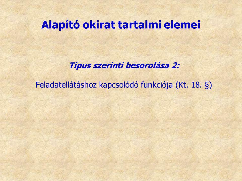 Típus szerinti besorolása 2: Feladatellátáshoz kapcsolódó funkciója (Kt. 18. §) Alapító okirat tartalmi elemei