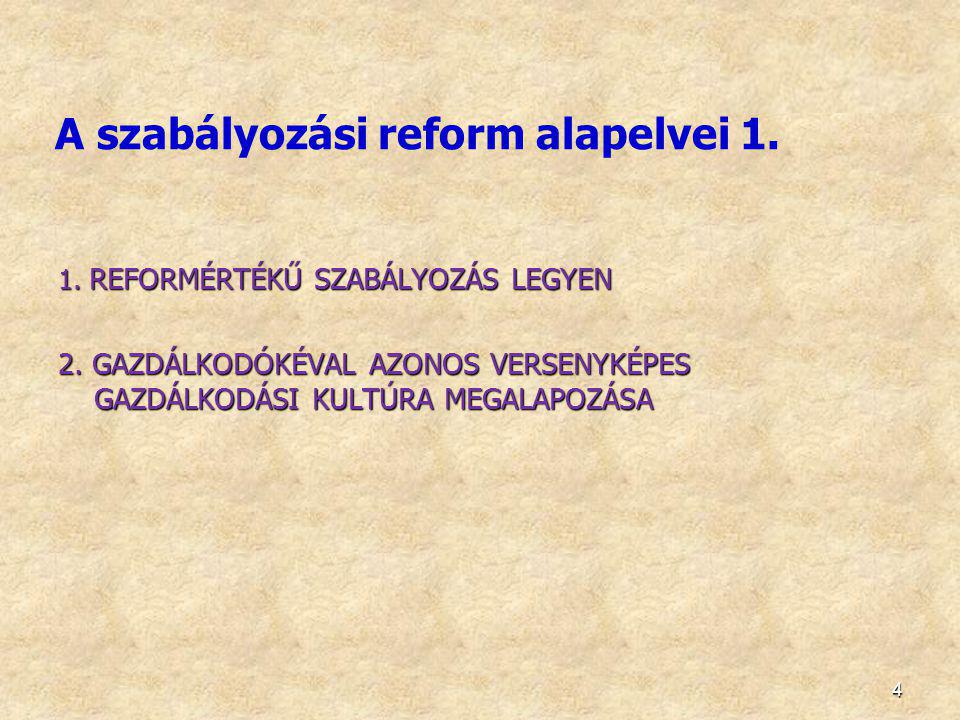 4 A szabályozási reform alapelvei 1. 1. REFORMÉRTÉKŰ SZABÁLYOZÁS LEGYEN 2. GAZDÁLKODÓKÉVAL AZONOS VERSENYKÉPES GAZDÁLKODÁSI KULTÚRA MEGALAPOZÁSA