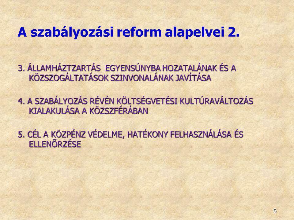 6 A szabályozási reform céljai 1.HATÉKONYABB KÖZFELADATELLÁTÁS 2.