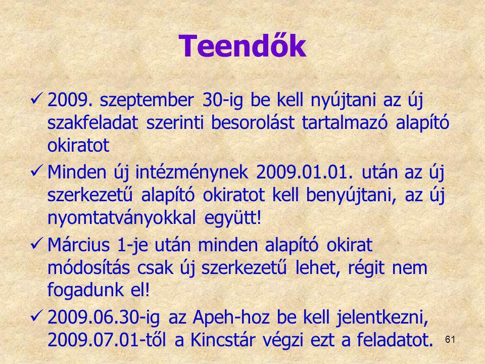 Teendők 2009. szeptember 30-ig be kell nyújtani az új szakfeladat szerinti besorolást tartalmazó alapító okiratot Minden új intézménynek 2009.01.01. u