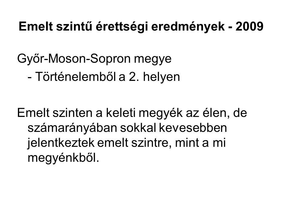 Emelt szintű érettségi eredmények - 2009 Győr-Moson-Sopron megye - Történelemből a 2. helyen Emelt szinten a keleti megyék az élen, de számarányában s