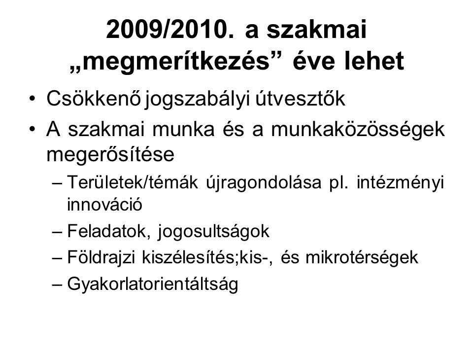 """2009/2010. a szakmai """"megmerítkezés"""" éve lehet Csökkenő jogszabályi útvesztők A szakmai munka és a munkaközösségek megerősítése –Területek/témák újrag"""