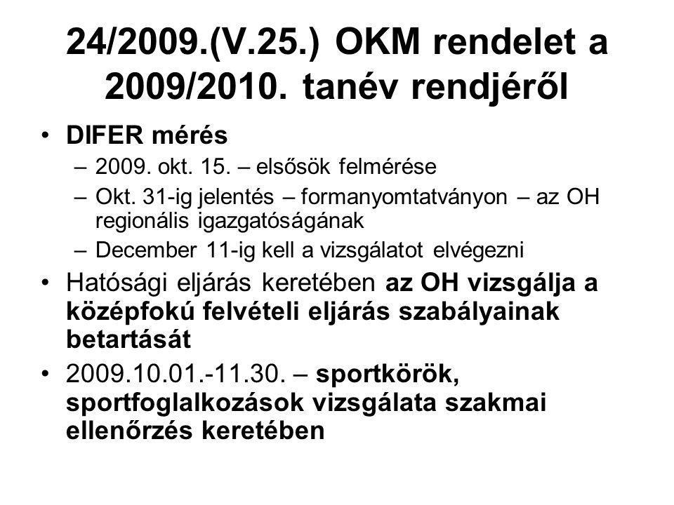 24/2009.(V.25.) OKM rendelet a 2009/2010. tanév rendjéről DIFER mérés –2009. okt. 15. – elsősök felmérése –Okt. 31-ig jelentés – formanyomtatványon –