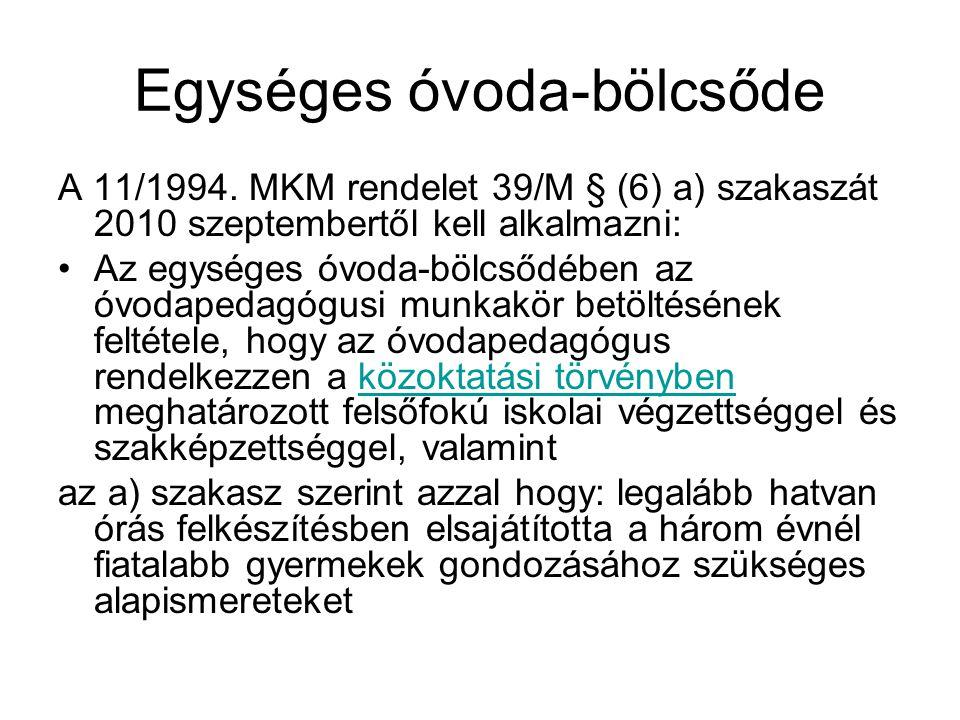 Egységes óvoda-bölcsőde A 11/1994. MKM rendelet 39/M § (6) a) szakaszát 2010 szeptembertől kell alkalmazni: Az egységes óvoda-bölcsődében az óvodapeda