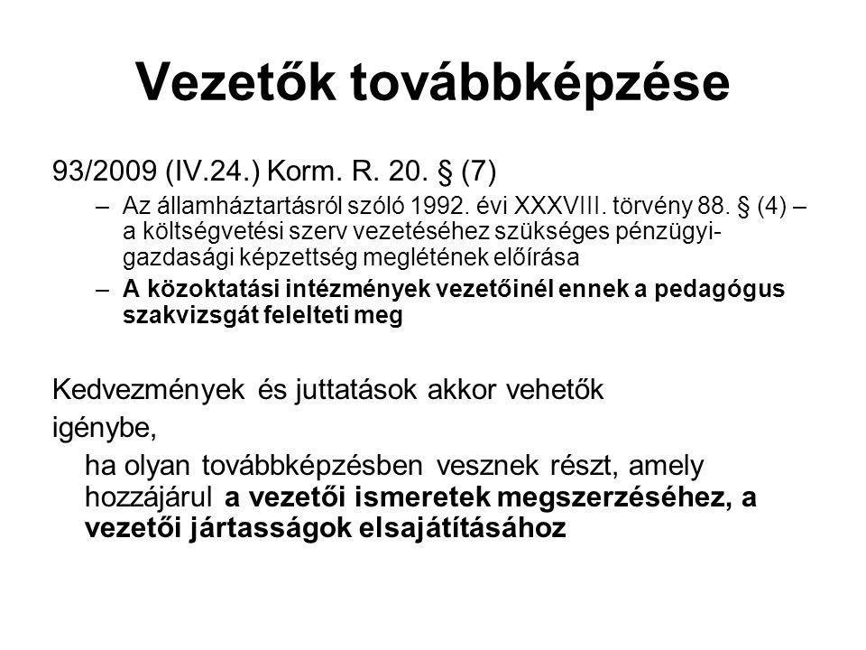 Vezetők továbbképzése 93/2009 (IV.24.) Korm.R. 20.