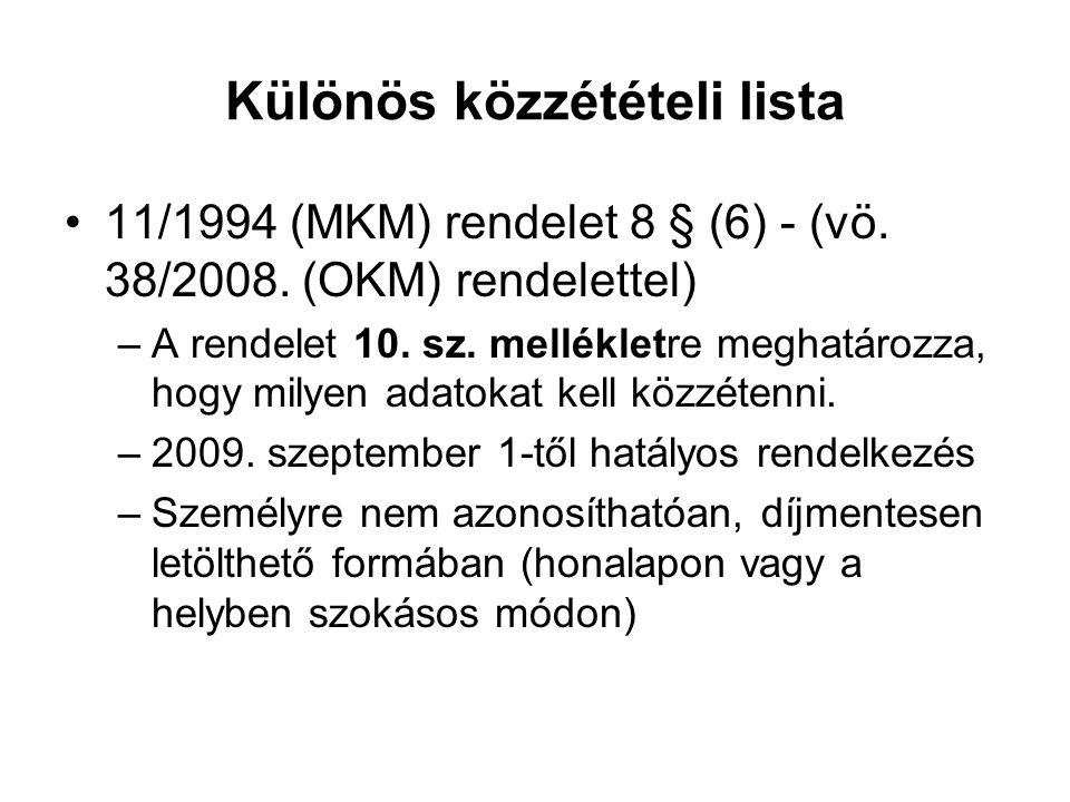 Különös közzétételi lista 11/1994 (MKM) rendelet 8 § (6) - (vö. 38/2008. (OKM) rendelettel) –A rendelet 10. sz. mellékletre meghatározza, hogy milyen