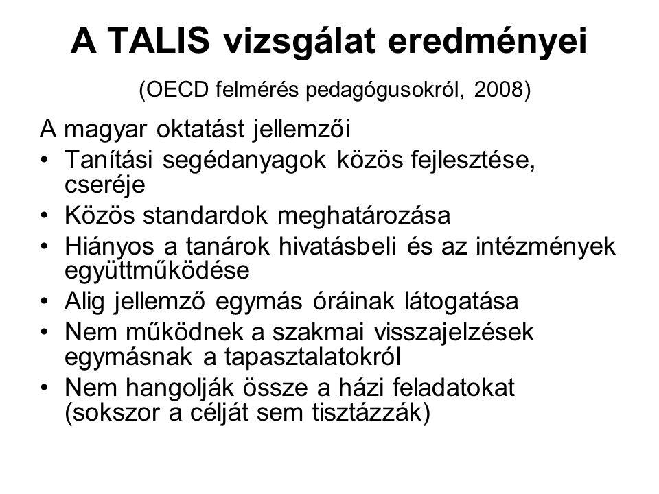 A TALIS vizsgálat eredményei (OECD felmérés pedagógusokról, 2008) A magyar oktatást jellemzői Tanítási segédanyagok közös fejlesztése, cseréje Közös s