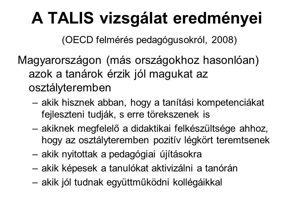 A TALIS vizsgálat eredményei (OECD felmérés pedagógusokról, 2008) Magyarországon (más országokhoz hasonlóan) azok a tanárok érzik jól magukat az osztályteremben –akik hisznek abban, hogy a tanítási kompetenciákat fejleszteni tudják, s erre törekszenek is –akiknek megfelelő a didaktikai felkészültsége ahhoz, hogy az osztályteremben pozitív légkört teremtsenek –akik nyitottak a pedagógiai újításokra –akik képesek a tanulókat aktivizálni a tanórán –akik jól tudnak együttműködni kollégáikkal