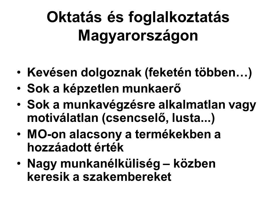 Oktatás és foglalkoztatás Magyarországon Kevésen dolgoznak (feketén többen…) Sok a képzetlen munkaerő Sok a munkavégzésre alkalmatlan vagy motiválatla