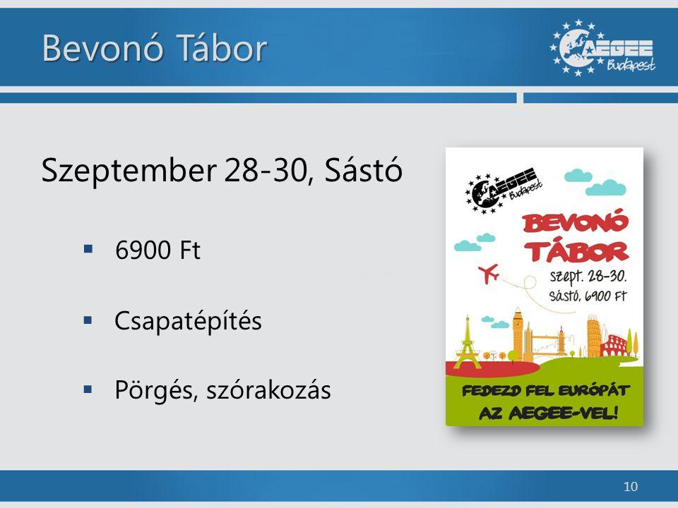 Bevonó Tábor Szeptember 28-30, Sástó  6900 Ft  Csapatépítés  Pörgés, szórakozás 10