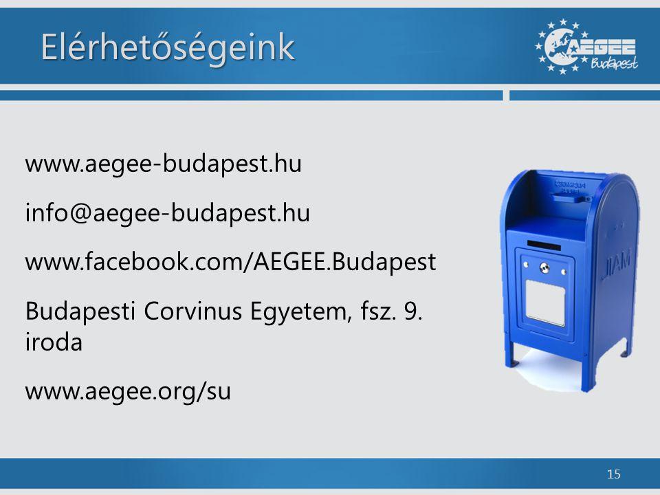 Elérhetőségeink www.aegee-budapest.hu info@aegee-budapest.hu www.facebook.com/AEGEE.Budapest Budapesti Corvinus Egyetem, fsz. 9. iroda www.aegee.org/s