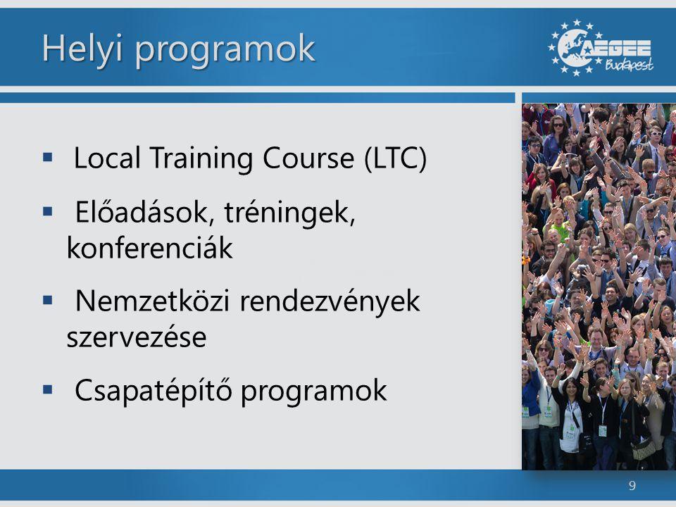 Helyi programok  Local Training Course (LTC)  Előadások, tréningek, konferenciák  Nemzetközi rendezvények szervezése  Csapatépítő programok 9