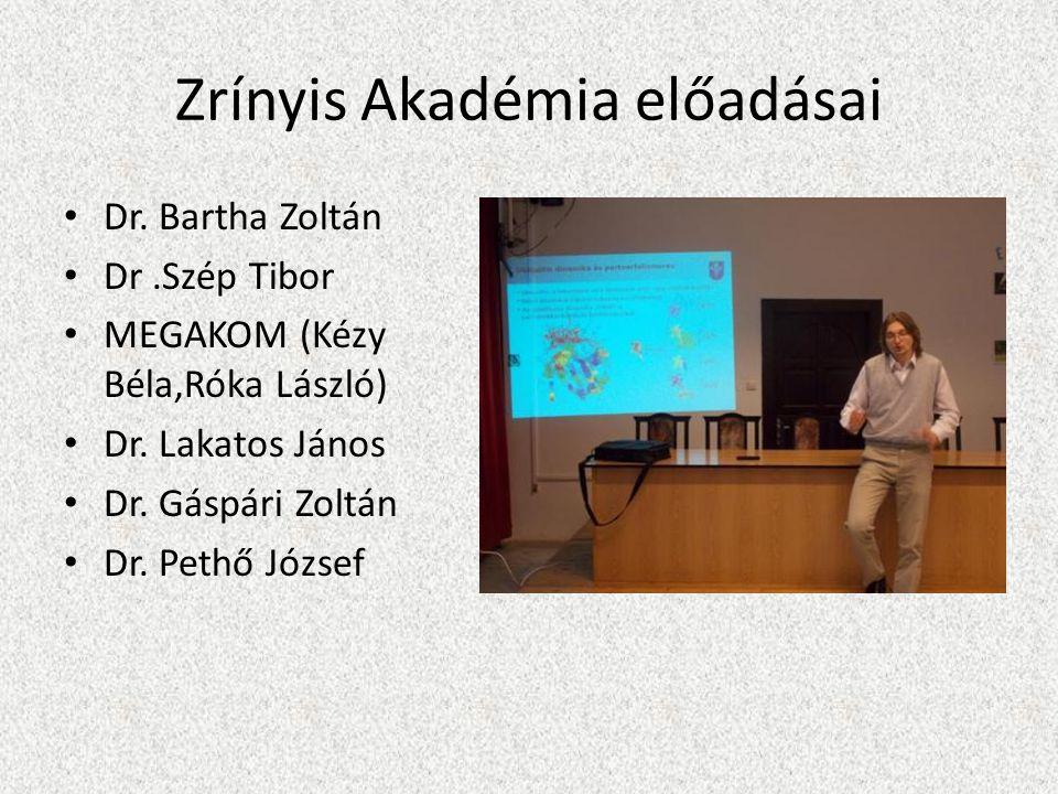 Zrínyis Akadémia előadásai Dr. Bartha Zoltán Dr.Szép Tibor MEGAKOM (Kézy Béla,Róka László) Dr.