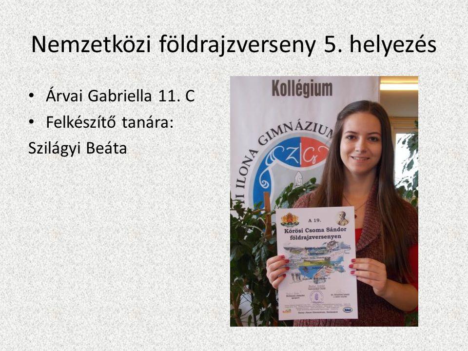 Nemzetközi földrajzverseny 5. helyezés Árvai Gabriella 11. C Felkészítő tanára: Szilágyi Beáta