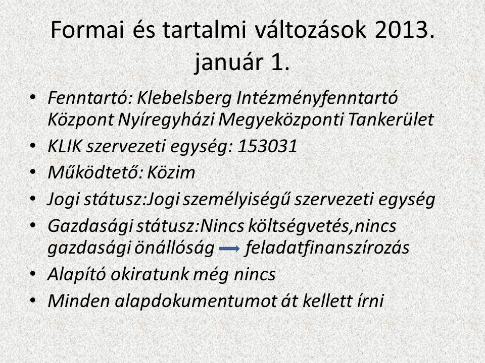 Formai és tartalmi változások 2013. január 1.