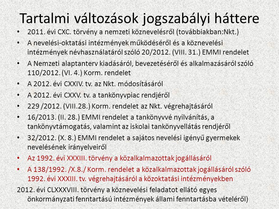 Tartalmi változások jogszabályi háttere 2011. évi CXC.