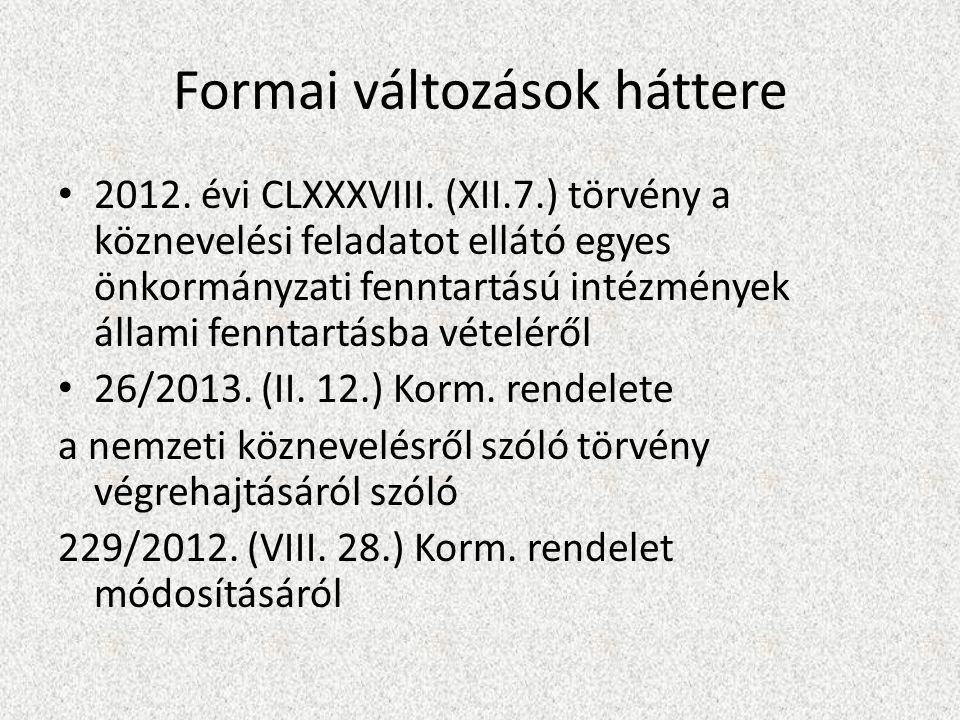 Formai változások háttere 2012. évi CLXXXVIII.