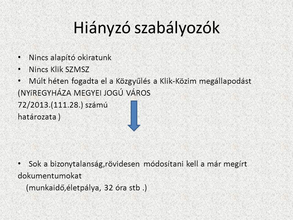 Hiányzó szabályozók Nincs alapító okiratunk Nincs Klik SZMSZ Múlt héten fogadta el a Közgyűlés a Klik-Közim megállapodást (NYíREGYHÁZA MEGYEI JOGÚ VÁROS 72/2013.(111.28.) számú határozata ) Sok a bizonytalanság,rövidesen módosítani kell a már megírt dokumentumokat (munkaidő,életpálya, 32 óra stb.)
