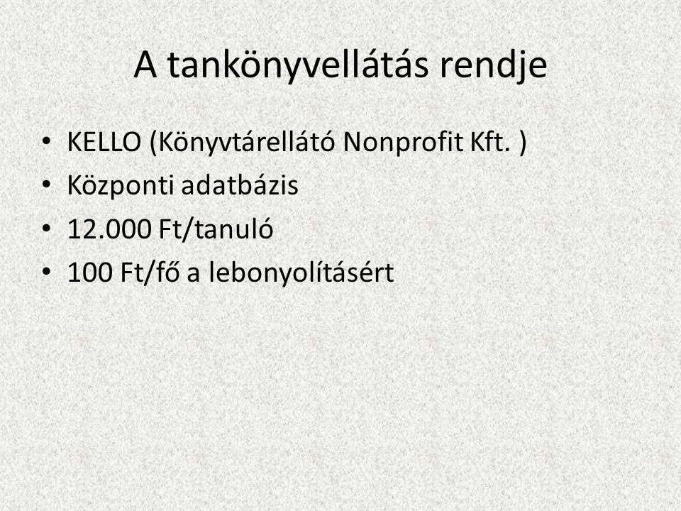 A tankönyvellátás rendje KELLO (Könyvtárellátó Nonprofit Kft.