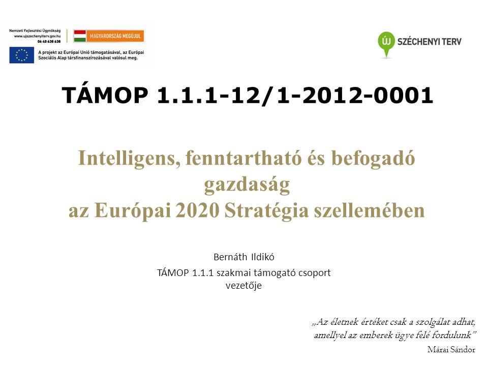 """Intelligens, fenntartható és befogadó gazdaság az Európai 2020 Stratégia szellemében Bernáth Ildikó TÁMOP 1.1.1 szakmai támogató csoport vezetője """"Az"""
