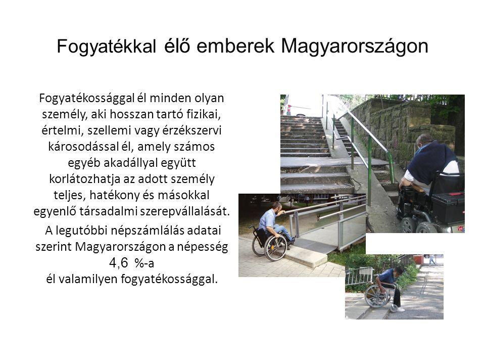 Fogyatékkal élő emberek Magyarországon Fogyatékossággal él minden olyan személy, aki hosszan tartó fizikai, értelmi, szellemi vagy érzékszervi károsod