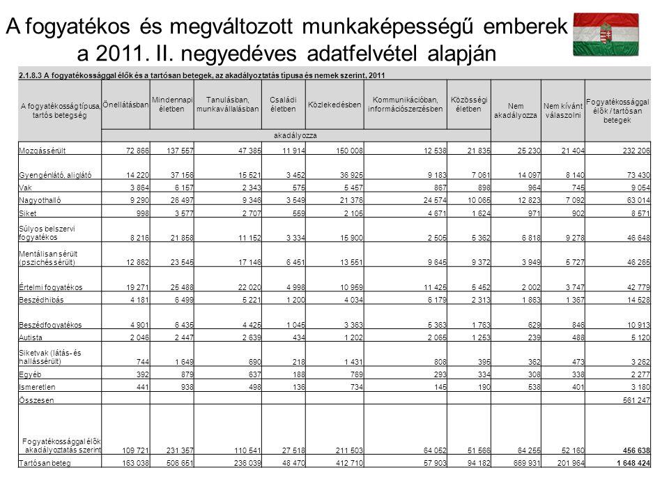 Fogyatékos személyek foglalkoztatási aránya (%) Fogyatékos személyek munkanélkülisé gi rátája (%) Fogyatékos személyek inaktivitási rátája (%) Magyarország 2,34,425,5 Románia 2,53,112 Szlovákia 2,75,220,4 Litvánia 2,96,221,2 Spanyolország 4,2617,4 Olaszország 4,44,910,2 Málta 4,9:13,6 Görögország 6,5 17 Írország 6,710,120,7 Németország 7,315,819,7 Ciprus 8,319,621,5 Luxembourg 8,7:17,7 Ausztria 9,417,120,9 Norvégia 1016,146,4 EU 25 12,31624,9 Belgium 12,822,428 Dánia 13,619,945 Szlovénia 14,22530,1 EU 15 14,316,626 Csehország 14,528,432,2 Portugália 15,721,330,8 Észtország 18,324,934,9 Svédország 19,520,721 Hollandia 19,832,442,8 Egyesült Királyság 20,42848,7 Franciaország 21,326,731,4 Finnország 27,12651,6 Annak lehetővé tétele, hogy minél több, fogyatékos személy dolgozhasson a nyílt munkaerőpiacon.