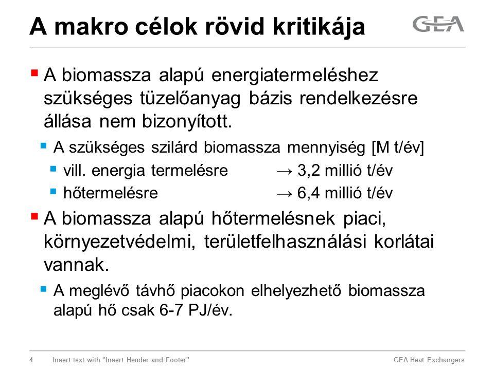 GEA Heat Exchangers 5 Insert text with Insert Header and Footer → a piac az épületkorszerűsítések miatt zsugorodik, → a gázra tervezett fűtő(erő)művekbe a biomassza nem minden esetben vihető be, → nagyobb városok belvárosába egyébként sem vihető be biomassza, → drága biomasszás kapacitásokat nem érdemes a csúcsigényre kiépíteni, → a biomassza, a geotermikus energia és a gázos kapcsolt hő a tartamgörbe alsó szakaszán versenyez egymással, → a biomasszás egységek leszabályozhatósága korlátozott.