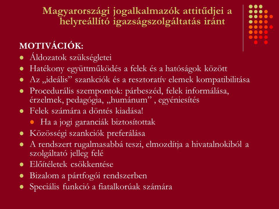 Magyarországi jogalkalmazók attitűdjei a helyreállító igazságszolgáltatás iránt MOTIVÁCIÓK: Áldozatok szükségletei Hatékony együttműködés a felek és a