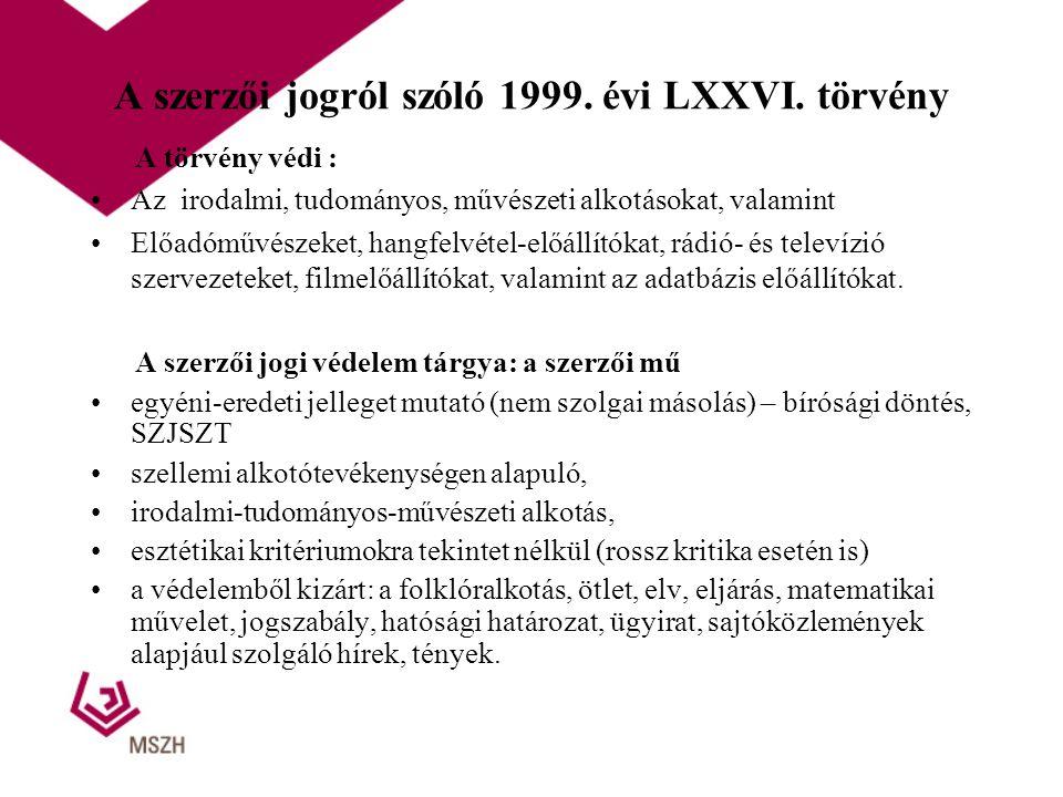 A szerzői jogról szóló 1999. évi LXXVI. törvény A törvény védi : Az irodalmi, tudományos, művészeti alkotásokat, valamint Előadóművészeket, hangfelvét