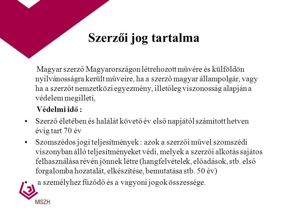 Szerzői jog tartalma Magyar szerző Magyarországon létrehozott művére és külföldön nyilvánosságra került műveire, ha a szerző magyar állampolgár, vagy