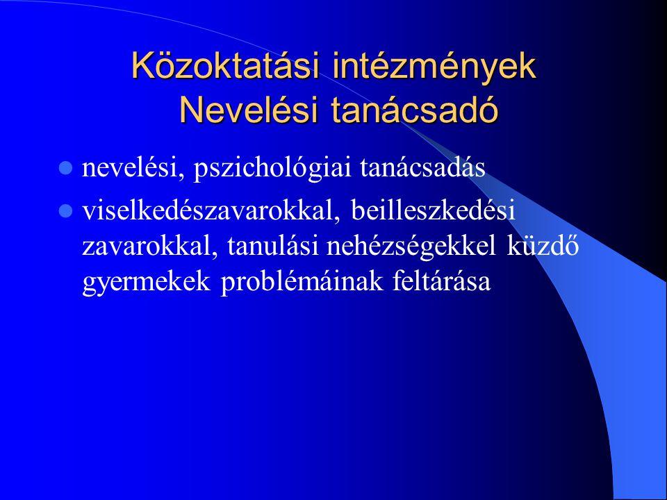 Közoktatási intézmények Nevelési tanácsadó nevelési, pszichológiai tanácsadás viselkedészavarokkal, beilleszkedési zavarokkal, tanulási nehézségekkel