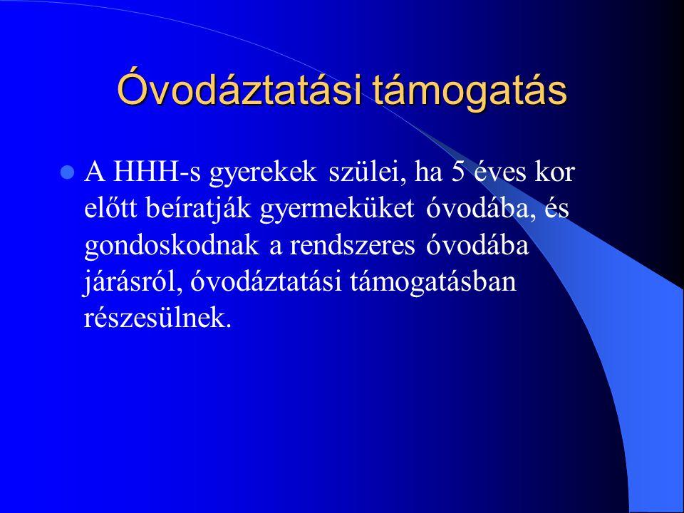 Óvodáztatási támogatás A HHH-s gyerekek szülei, ha 5 éves kor előtt beíratják gyermeküket óvodába, és gondoskodnak a rendszeres óvodába járásról, óvod