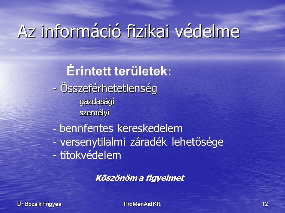 Dr Bozsik FrigyesProMenAid Kft.11 Az információ fizikai védelme Ezek a standardok képezik a munkaerő fejlesztés gerincét, sebezhetőségük maguknak az adatoknak a birtoklásában van.