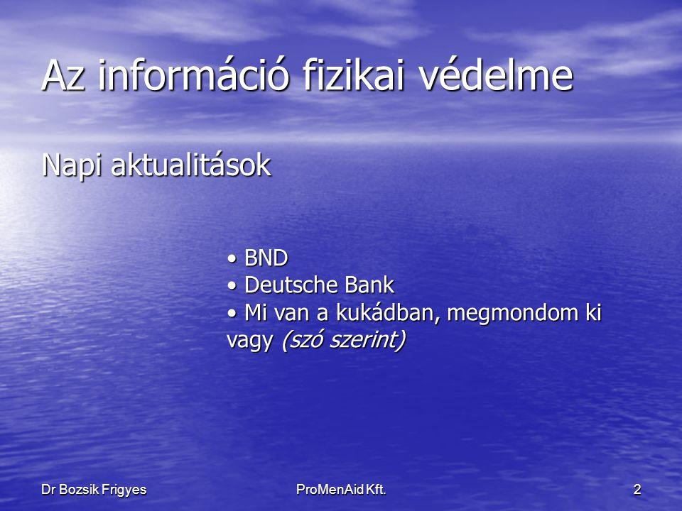 ProMenAid Kft. 1 Dr Bozsik Frigyes Az Információ fizikai védelme Baseball – vagy Golfütő