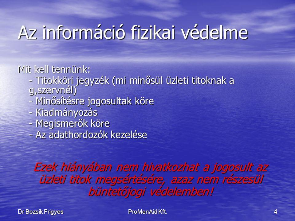 Dr Bozsik FrigyesProMenAid Kft.3 Az információ fizikai védelme Üzleti titok megsértése: Jogszabályi háttér: Btk.