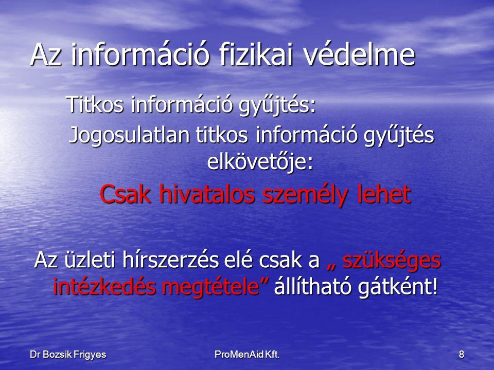 Dr Bozsik FrigyesProMenAid Kft.7 Az információ fizikai védelme A titokban tartás érdekében a szükséges intézkedések fogalma kiterjeszthető-e a munkavállaló magánszférájának vizsgálatára.
