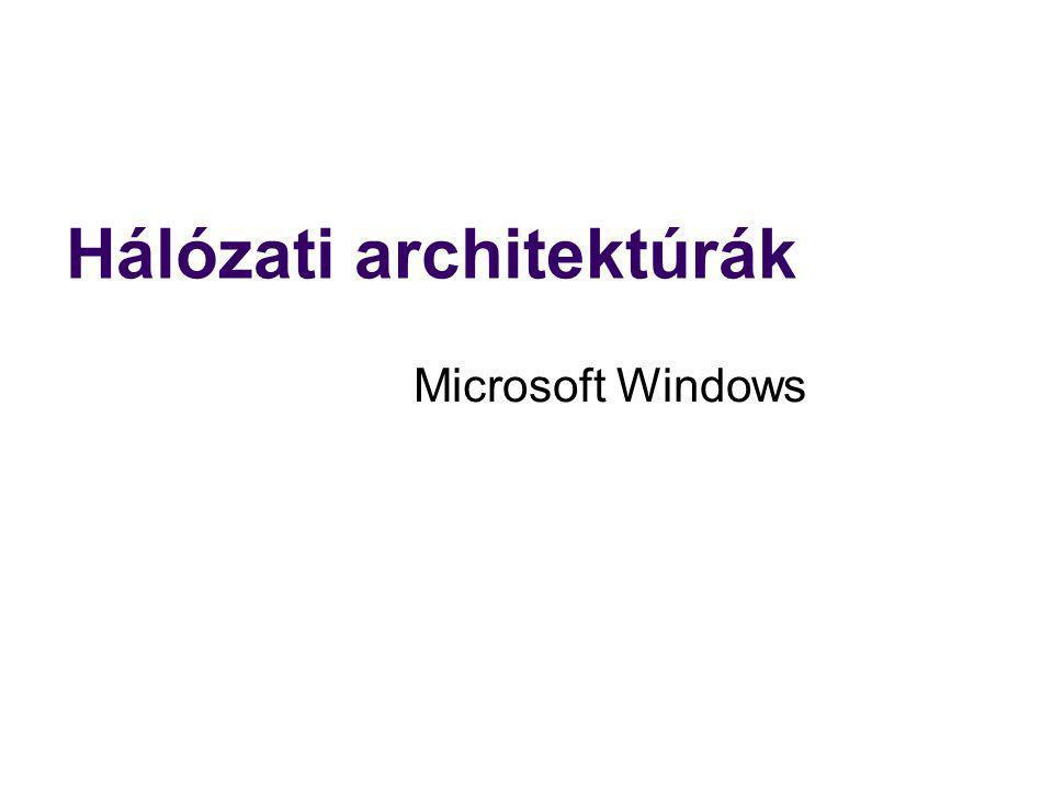 Hálózati architektúrák Microsoft Windows