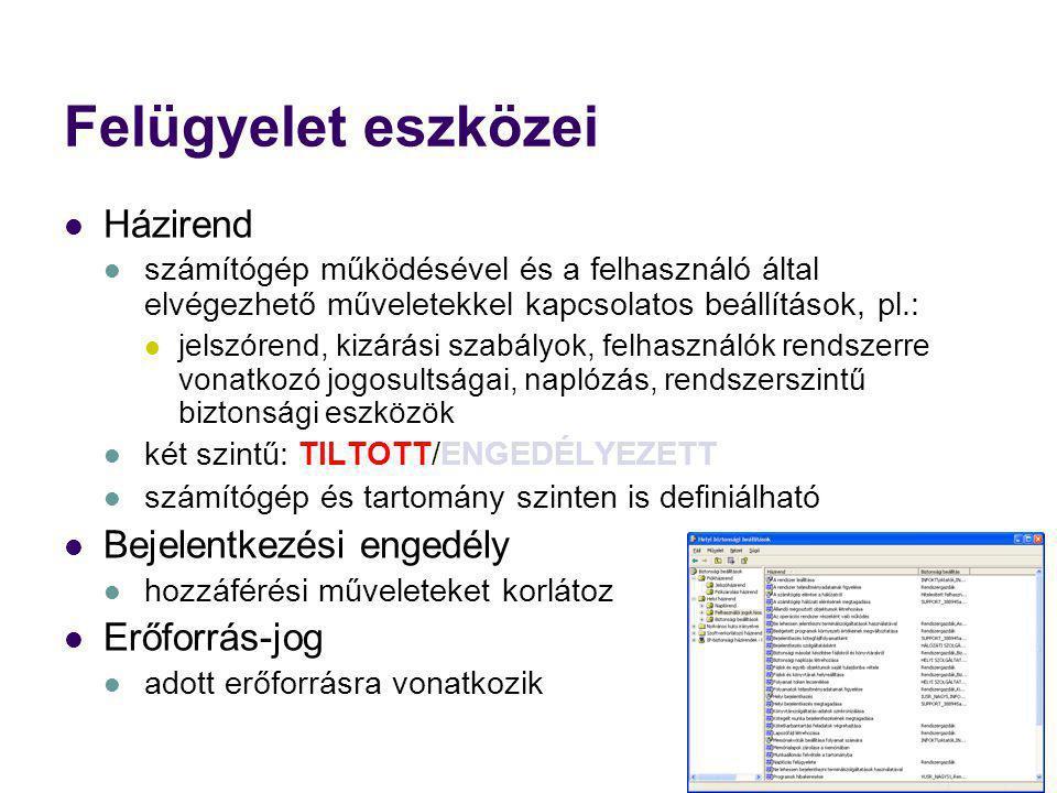 Felügyelet eszközei Házirend számítógép működésével és a felhasználó által elvégezhető műveletekkel kapcsolatos beállítások, pl.: jelszórend, kizárási