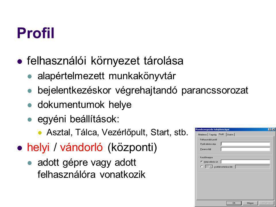 Profil felhasználói környezet tárolása alapértelmezett munkakönyvtár bejelentkezéskor végrehajtandó parancssorozat dokumentumok helye egyéni beállítás