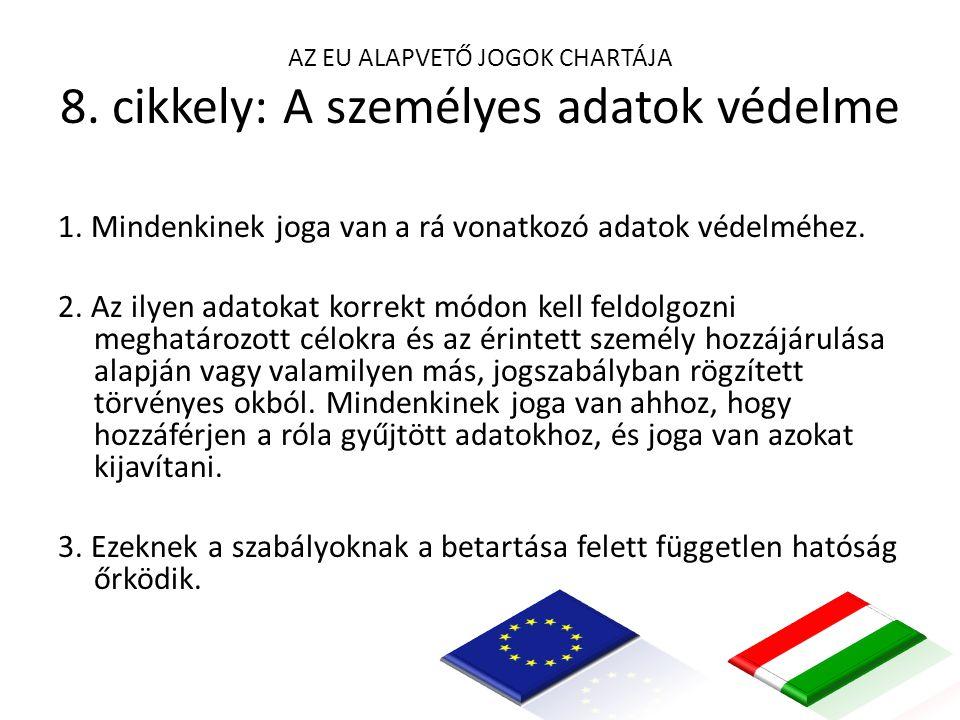 AZ EU ALAPVETŐ JOGOK CHARTÁJA 8. cikkely: A személyes adatok védelme 1.