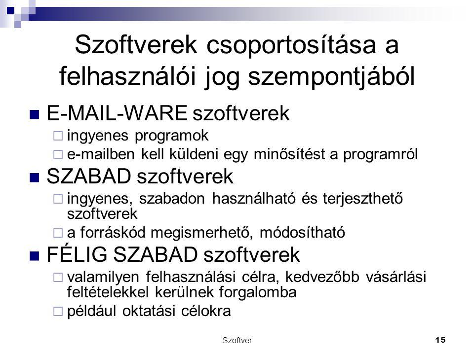 Szoftver15 Szoftverek csoportosítása a felhasználói jog szempontjából E-MAIL-WARE szoftverek  ingyenes programok  e-mailben kell küldeni egy minősít