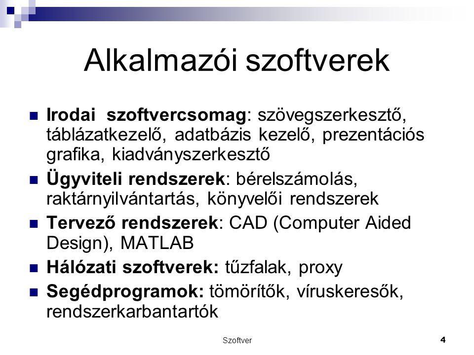 Szoftver4 Alkalmazói szoftverek Irodai szoftvercsomag: szövegszerkesztő, táblázatkezelő, adatbázis kezelő, prezentációs grafika, kiadványszerkesztő Üg