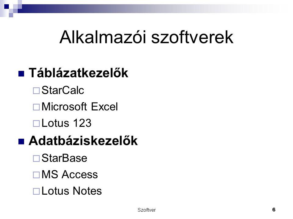 Szoftver6 Alkalmazói szoftverek Táblázatkezelők  StarCalc  Microsoft Excel  Lotus 123 Adatbáziskezelők  StarBase  MS Access  Lotus Notes