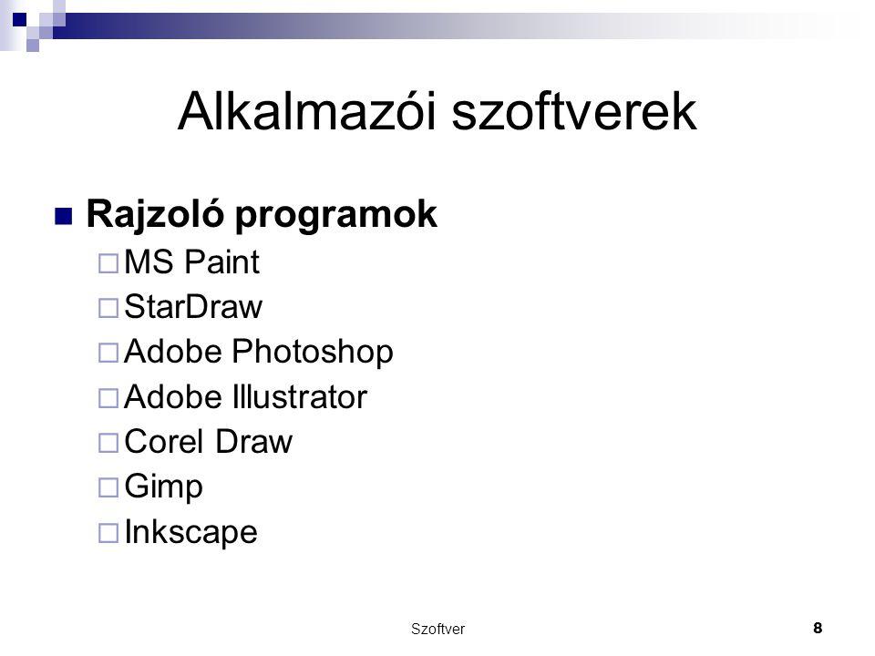 Szoftver8 Alkalmazói szoftverek Rajzoló programok  MS Paint  StarDraw  Adobe Photoshop  Adobe Illustrator  Corel Draw  Gimp  Inkscape