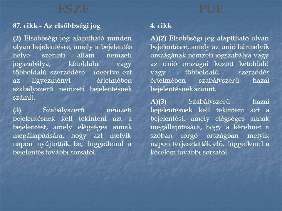 ESZE 87. cikk - Az elsőbbségi jog (2) Elsőbbségi jog alapítható minden olyan bejelentésre, amely a bejelentés helye szerinti állam nemzeti jogszabálya