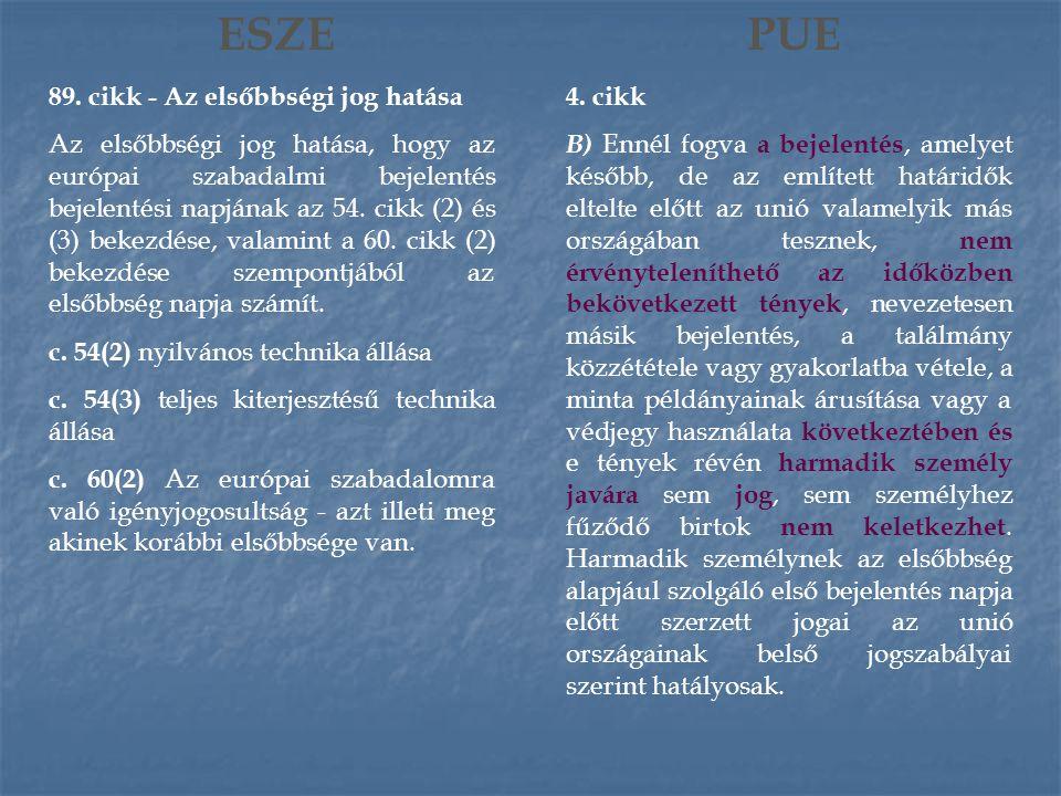 ESZE 89. cikk - Az elsőbbségi jog hatása Az elsőbbségi jog hatása, hogy az európai szabadalmi bejelentés bejelentési napjának az 54. cikk (2) és (3) b
