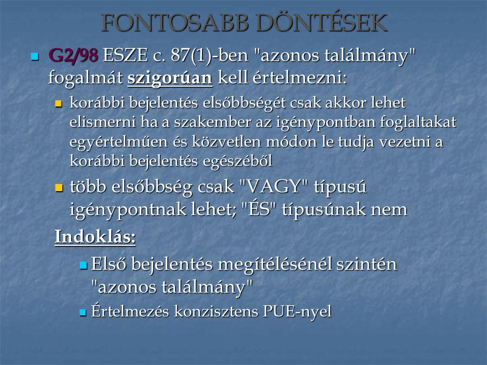 G2/98 ESZE c. 87(1)-ben