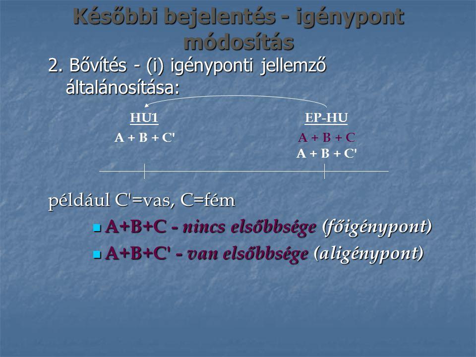 Későbbi bejelentés - igénypont módosítás 2. Bővítés - (i) igényponti jellemző általánosítása: EP-HU A + B + C A + B + C' HU1 A + B + C' például C'=vas